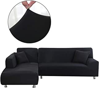Cepheus L Shape Couch Covers, Anti-Slip Stain Resistant Sectional Slipcovers, Stretch Elastic Fabric L-Shaped Sofa Slipcover with 1pcs Free Pillow Covers (L-Shape Sofa Left 3+3 Seats, Black)
