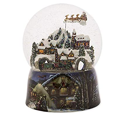 Santa with Sleigh Flying Over a Town Snow Globe