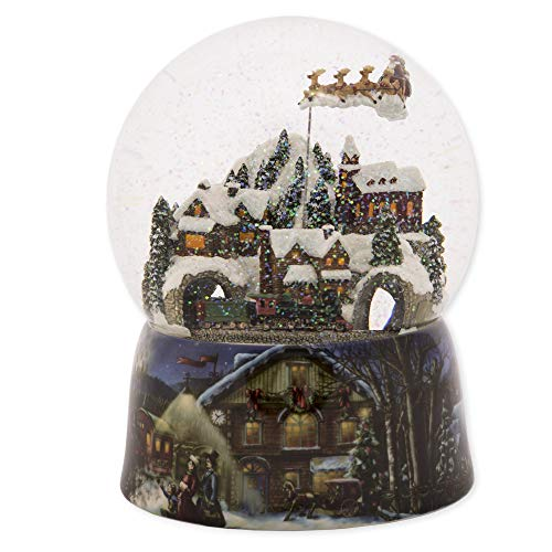 Roman 37753 Glitterdomes Snow Globe 150mm Musical with Santa in Sleigh, 8 Inch