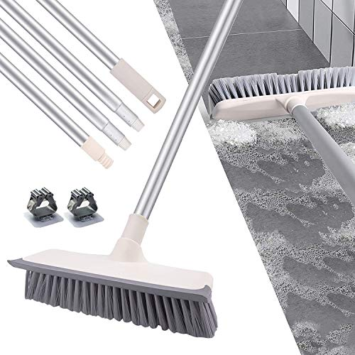 """SCENAY Floor Brush, 2 in 1 Scrape and Brush,55"""" Floor Scrub Brush with Adjustable Long Handle, for Cleaning Bathroom, Patio, Kitchen, Wall, Deck, and Garage(2 pcs Free Cleaning Brush Holder"""