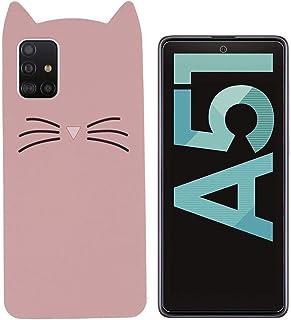 MI-KOU kompatibel med Samsung Galaxy A51 4G&5G fodral + skärmskydd silikonskydd snygg kattdesign, drop full kroppsskydd st...
