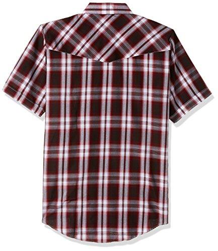Ely Cattleman Men's Short Sleeve Plaid Western Shirt, Wine, X-Large