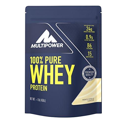 Multipower 100% Pure Whey Protein - Fino a 80% di Proteine del Siero del Latte - Proteine Isolate come Fonte Principale - 15 Porzioni - Per lo sviluppo Muscolare - 450 g - Gusto Vaniglia