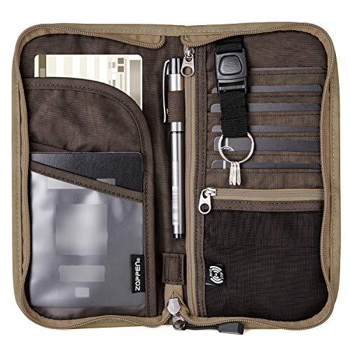 Zoppen RFID Travel Passport Wallet & Documents Organizer Zipper Case with Removable Wristlet Strap, Camel