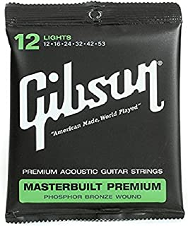 Gibson Masterbuilt Premium Phosphor Bronze Acoustic Guitar Strings, Light 12-53