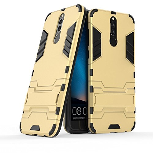 Case for Huawei Mate 10 Lite/Nova 2i / Honor 9i (5.9 inch) 2 in 1 Shockproof with Kickstand Feature Hybrid Dual Layer Armor Defender Protective Cover (Gold)