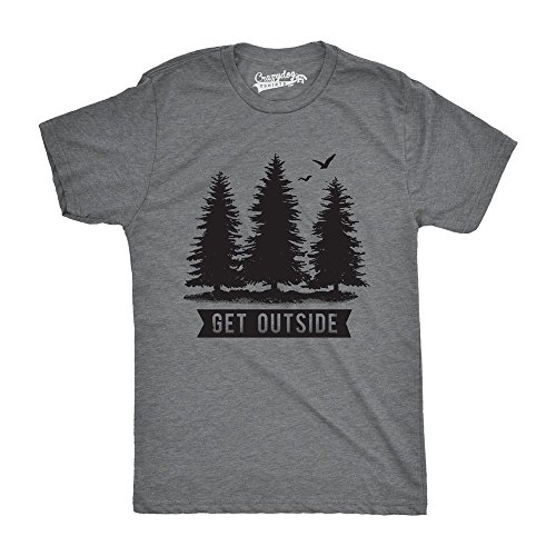 Crazy Dog T-Shirts Pine Trees Get Outside Cool Outdoor Adventure Tshirt (Dark Heather Grey) - L