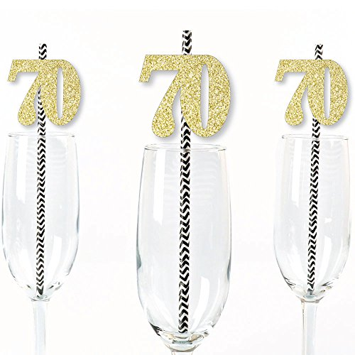 70–Pajitas para fiesta purpurina, color dorado–no-mess Cut-Out purpurina, color dorado números y 70º cumpleaños partido Pajitas de papel decorativas...