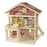 Villa Freda rosé Puppenhaus + Hussen + Puppenhausmöbel aus Holz 3 Etagen 46 x 35 x 58 cm