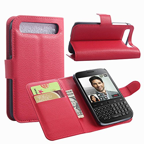 Tasche für BlackBerry Classic (Q20) Hülle, Ycloud PU Ledertasche Flip Cover Wallet Case Handyhülle mit Stand Function Credit Card Slots Bookstyle Purse Design rote
