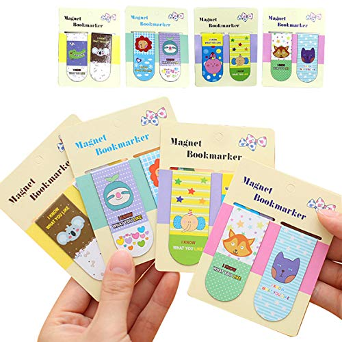 32 Pieces Magnetic Bookmarks Cute Animal Magnet Page Markers Page Clips Book Markers for Kids Reading Stationery