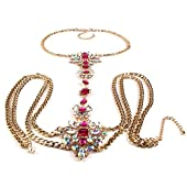 KOZEEYセクシーな 女性 水晶 ビキニ ハーネス ネックレス 花 クロス ボディ 腰のチェーン