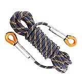 BESPORTBLE Cuerda Auxiliar de Escalada de Nailon de 8 mm de Grosor Cuerda de Rappel de Seguridad de Rescate de montañismo para Deportes al Aire Libre (Negro y Naranja 5 Metros)