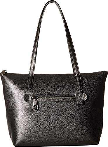 COACH Taylor Tote in Metallic Leather Dk/Metallic Graphite One Size