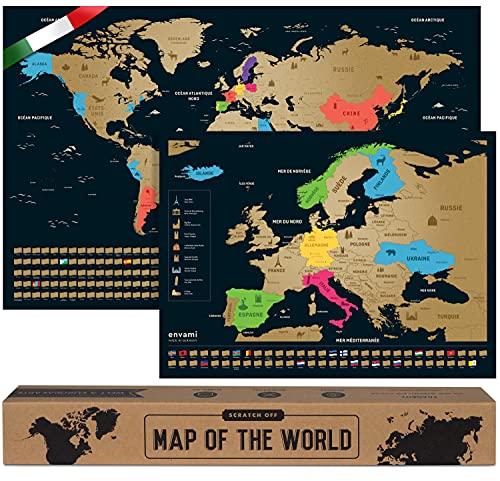 Mappa del Mondo da Grattare - Cartina Mondo - Italiano - Più Mappa Europea - 68 X 43 CM - Mappamondo da Grattare - Scratch off Map - Mappa da grattare - Cartina Geografica Mondo da Grattare