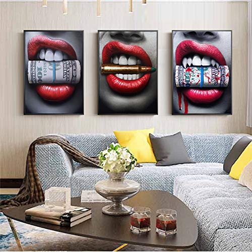Rahmenlose Malerei Rote Lippe Moderne Wandkunst Leinwand auf Leinwand Wanddekoration mit Geld HauptdekorationAY6172 30X45cmx3