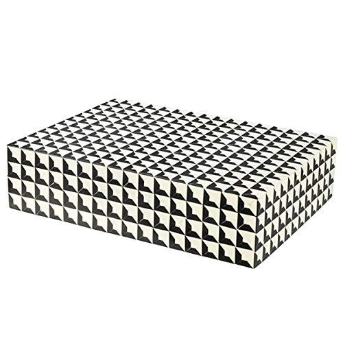 Eichholtz - Cabas - Schmuckkasten, Schmuckbox - Aufbewahrungsbox - Resin, Holz - Schwarz Weiß - (LxBxH): 40 x 30 x 10 cm