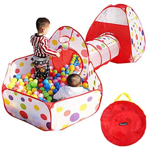 Kinderzelt Spielzelt Kinder Tunnelzelt für Kinder Baby 3 in 1 Spielplatz mit Basketball Box Tunnel und Zelte Rot