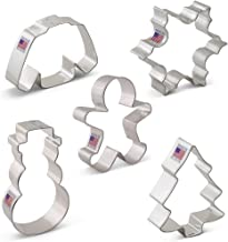 Winter Christmas Cookie Cutter Set with Recipe Book - 5 Piece - Snowflake, Wool Sweater, Snowman, Gingerbread Boy, Snow Covered Tree - Ann Clark - USA Made Steel