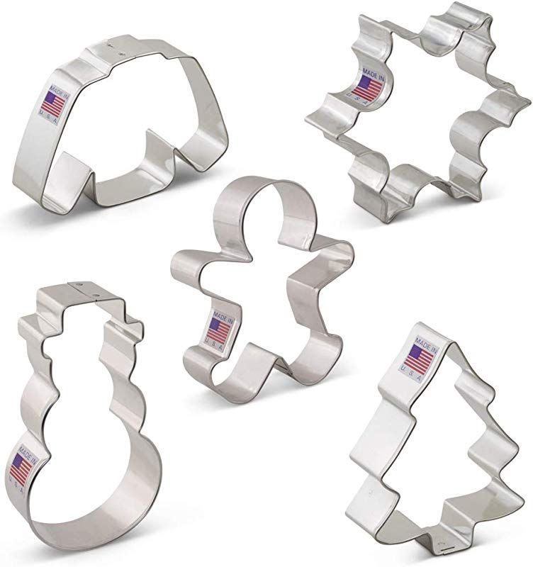Ann Clark Cookie Cutters 5 Piece Winter Christmas Cookie Cutter Set With Recipe Booklet Snowflake Wool Sweater Snowman Gingerbread Boy Snow Covered Tree