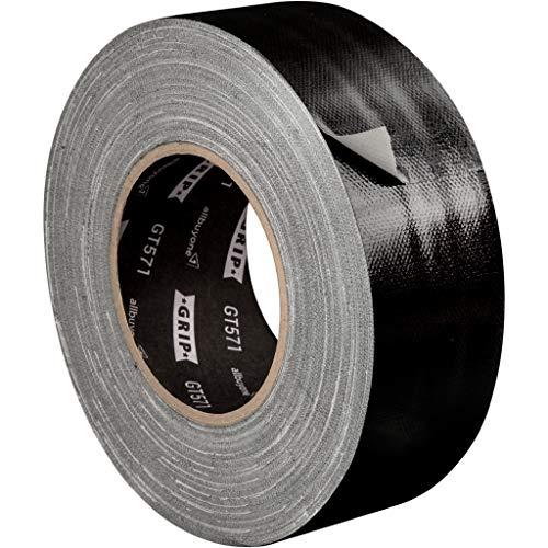 GRIP Eventbasics GT 571 Universal Gewebeband schwarz, 50 mm x 50 m, Gaffa Tape zum Reparieren, Bündeln und Befestigen