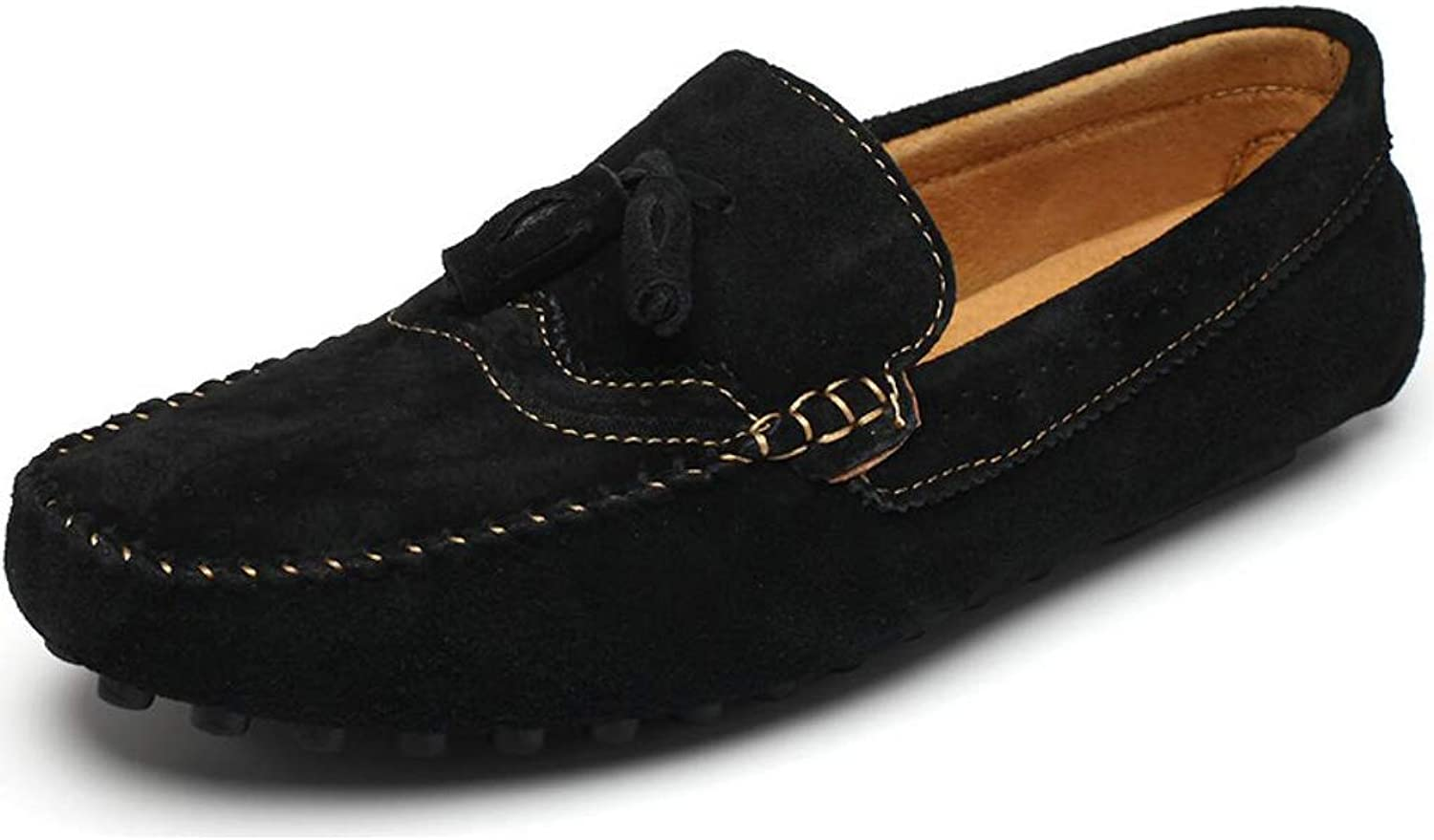 FuweiEncore Men's shoes Fall & Winter Casual Loafers & Slip-Ons Fashion Driving shoes, Hand seams Rounded office lazy walking shoes (color   D, Size   43)