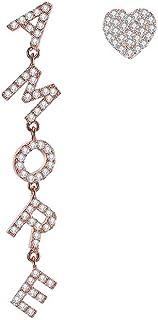 Amore, orecchini pendenti da donna, in stile italiano, ipoallergenici, con chiusura a perno e zirconi, idea regalo per mam...