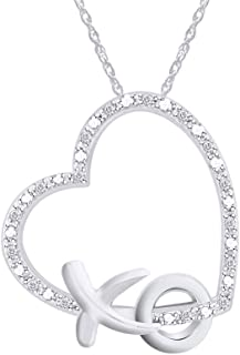 Diamond Accent XO Heart Pendant Necklace in 14k Gold Plated 925 Sterling Silver w/ 18