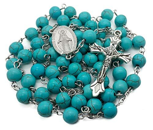 Tienda Nazaret Rosario de Cuentas de mármol Turquesa Collar católico con Medalla milagrosa Cruz Crucifijo Rosarios en Tono Plateado en Bolsa de Terciopelo