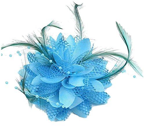 Cheerlife Elegante Damen Accessoires Haarblumen Haarblüte Haarspange Haarschmuck Broschen Ansteckblume viele Farben Blau