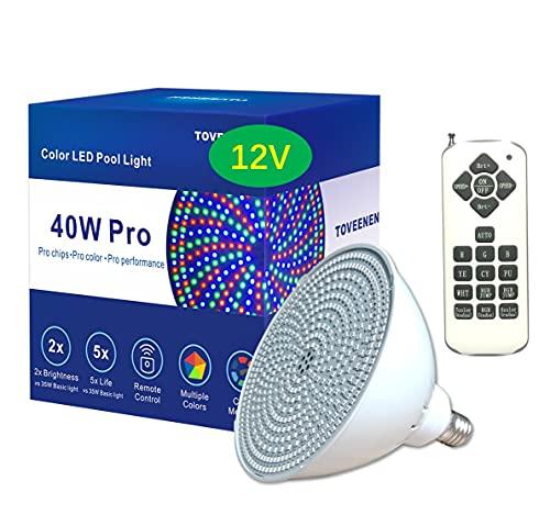 Color-Changing LED Pool Light 12V 40W Remote Pool Lights for...