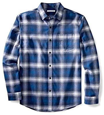 Amazon Essentials Men's Regular-Fit Long-Sleeve Plaid Flannel Shirt, Blue Ombre Plaid, Large from Amazon Essentials