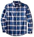 Amazon Essentials Men's Regular-Fit Long-Sleeve Flannel Shirt, Blue Ombre Plaid, Large