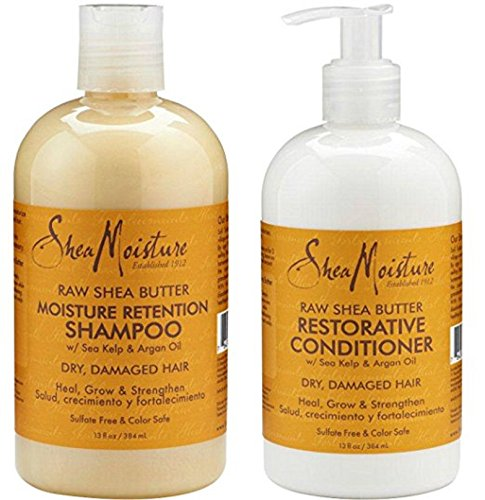 Shea Moisture Raw Shea Butter, DUO set Moisture Retention Shampoo + Restorative Conditioner, 13 Ounce, 1 each by Shea Moisture