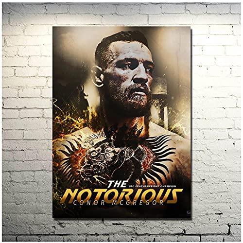 Qqwiter Conor McGregor Federgewicht Champion Kunst oder Leinwand Poster Boxbild für Raumdekor Druck auf Leinwand -50x70cm ohne Rahmen