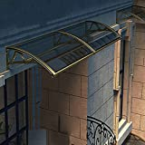 Marquesina para Puertas de Policarbonato,Toldo Cubierta Gris,Marquesinas Exterior,Tejadillo de Protección Silencioso,60-360 cm,con Soporte de Aluminio Color Champán (60x100cm/24'x39')