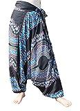 Full Funk Baggy Crotch Side Tied Mao Hill Tribe Harem Lounge Pants Dashiki Art, Medium, Black Dark Blue