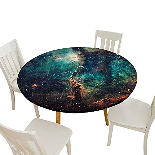 Fansu Impermeable Redondo Mantel con Borde Elástico, 3D Impresión Cielo Estrellado Mantel de Mesa Elástica Ajustada Cubierta de Mesa para Picnic Comedor Cocina Cena (Turquesa,Diámetro 200cm)