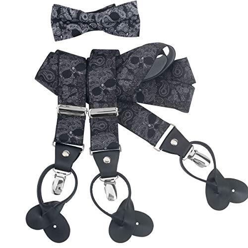 LINDENMANN Hosenträger Herren 35 mm breit mit Fliege, Y-Form mit Lederpaten, Herren-Hosenträger mit 3 Clips, Längenverstellbar, elastisch und flexibel, schwarz, Größe/Size:110, Farbe/Color:schwarz