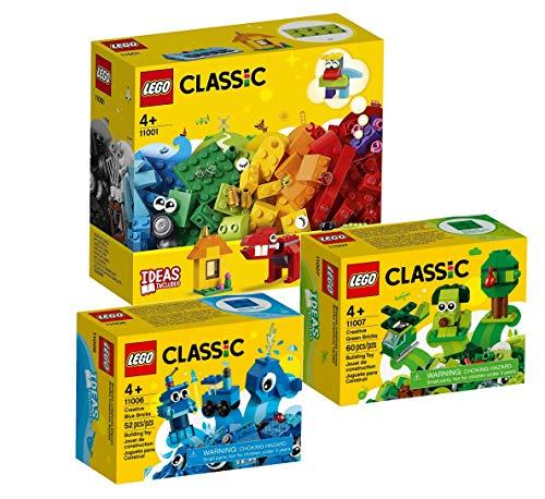 LEGO Classic 3-teiliges Set: 11001 Erster Bauspaß + 11006 Blaues Kreativ-Set + 11007 Grünes Kreativ-Set
