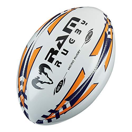 Ram Pelota de rugby – Micro Softfeel Rugby Ball – Tamaño 2.5 – Balón de inicio perfecto – Adecuado para niños – edades 2-5 – azul marino/naranja fluoro