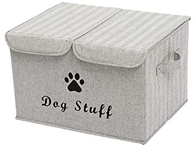 Geyecete Large Storage Boxes - Large Linen Fabric Foldable Storage Cubes Bin Box Containers with Lid and Handles for Dog Apparel & Accessories, Dog Toys, (Striped Gray)