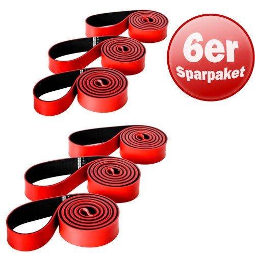 Schmidt Sports 6 x Original Deuserband Fitnessband Expander Fitness Kraft Training rot/schwarz
