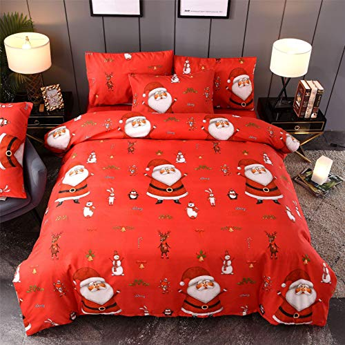 RENXR Father Christmas Quilt Duvet Cover Kids Xmas Snowman And Pillowcase Bedding Bed Set, Red,Full