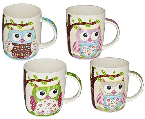 alles-meine.de GmbH 2 STK. Henkeltassen / Kaffeebecher - mit Eulen - groß - Keramik Trinktasse mit Henkel - Trinktassen / Kaffeetassen / Teetassen - Eulenmotiv Tassen Tasse Beche