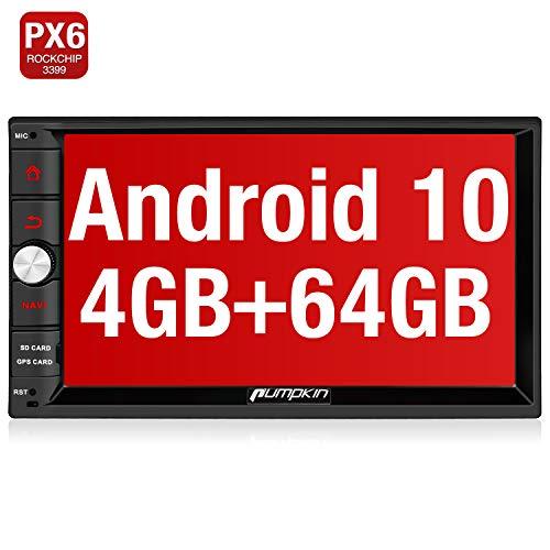 PUMPKIN Android 10 Autoradio Radio 4G+64G PX6 mit Navi Unterstützt Bluetooth 5.0 DAB + Android Auto WiFi 4G USB MicroSD 2 Din 7 Zoll Bildschirm
