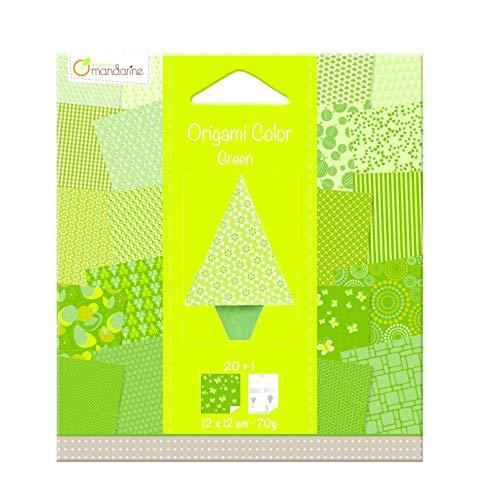 Avenue Mandarine 42686O Set (mit 20 Bögen Origami Papier, 12 x 12 cm + 1 Figur Tannenbaum, ideal für Kinder und Bastelaktivität) 20er Pack grün