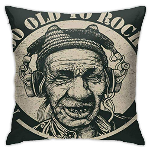 AOOEDM SXboxing Decorative Throw Pillow Covers 18x18 Inches,Christmas Square Throw Pillow Cases for Sofa Bedroom Car Never Too Old to Rock N Roll Elderly Man Headphones