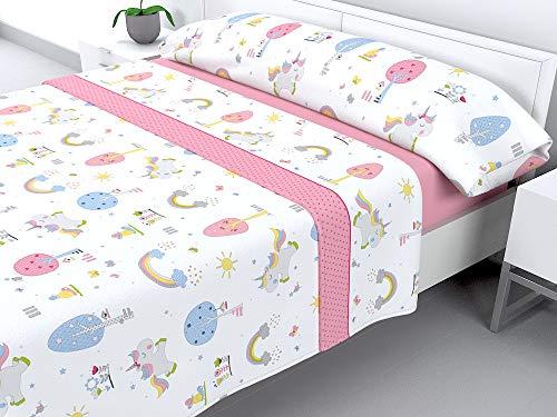 HM'S HOME'SECRET Juego De Sábanas Coralina Tacto Sedalina Modelo Little Unicornio (Cama 90)