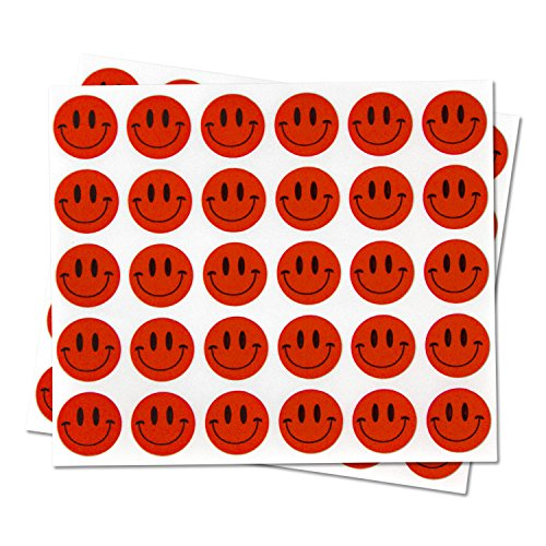 Happy Face Smiley Face Labels Round Self Adhesive Circle Stickers ( Red / 0.5 inch / 300 Labels per Pack )